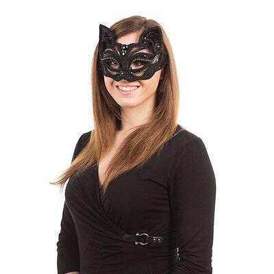 Black Cat Sequin Eye Face Mask on Glasses Frame Halloween Fancy - Cat Face On Halloween