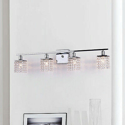 Crystal Vanity Light Bar Chrome Wall Sconce 4 Lights Mirror Bathroom -