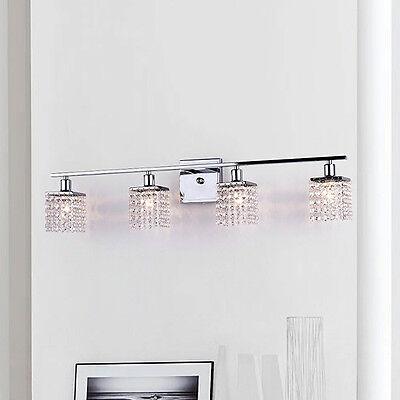 Crystal Vanity Light Bar Chrome Wall Sconce 4 Lights Mirror Bathroom Fixture - Light Chrome Wall Bar