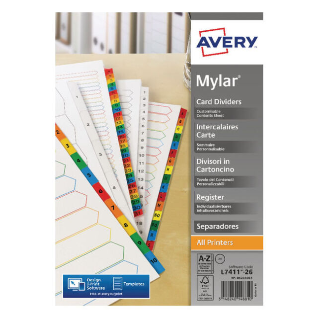 AVERY MYLAR ALPHA (A-Z) A4 DIVIDERS / BRIGHT WHITE / WITH INDEX PAGE / 05231061
