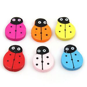 60-Mixed-Ladybird-Charms-Spacer-Wooden-Bead-26mm-110630