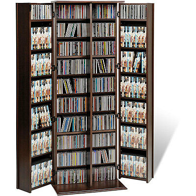 Brown Modern Large Deluxe CD/ DVD Holder Movies Media Storage Cabinet Stand