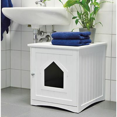Covered Litter Box Cat Enclosed Bed House Pet Crate Table Furniture Wooden White