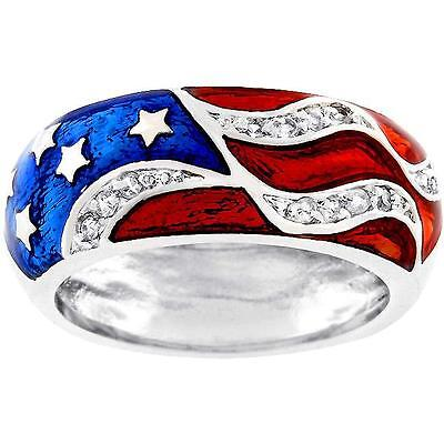 Patriotic Rings (American USA Flag Ring Band Stars Patriotic July 4th Enamel Size 5 7 8)