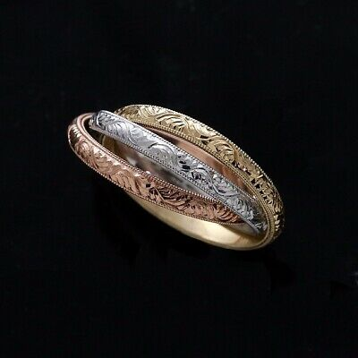 Color Rolling Band (Tri-Color Rolling Ring Trinity Interlocking Three Gold Bands)