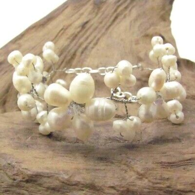 Flower Girl Silver Wire White Pearl & Crystal Mini Floral -