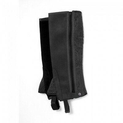 Tough-1 Synthetic Half Chaps  --BLACK  --ADULT SMALL  --NWT