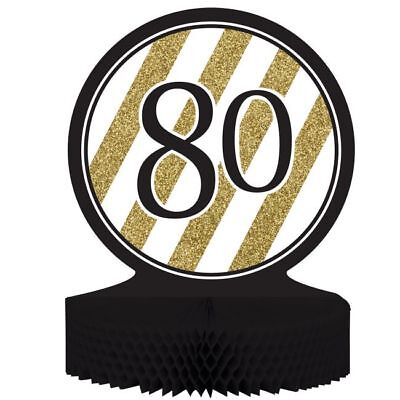 Black and Gold 80th Birthday Honeycomb Centerpiece 80 Birthday Party Decoration