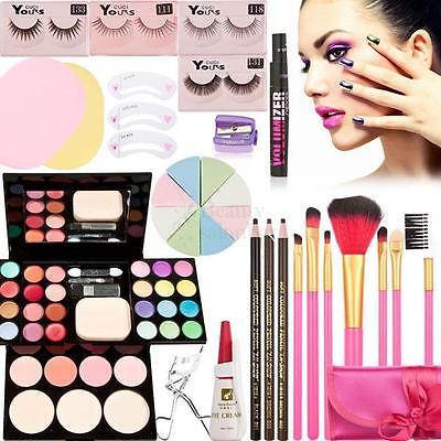 Makeup Palette Kits Eyeshadow Foundation Powder Blusher Lip Gloss Brush Set US