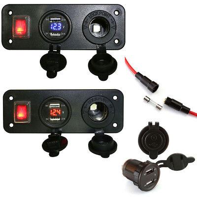 Car Dual USB Charger Cigarette Lighter Socket 2 in 1 Panel Adapter Kit 12V/24V - Lighter Adapter Kit