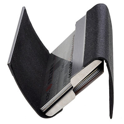 Two Side Open Pu Leather Stainless Steel Name Business Card Case Holder Black