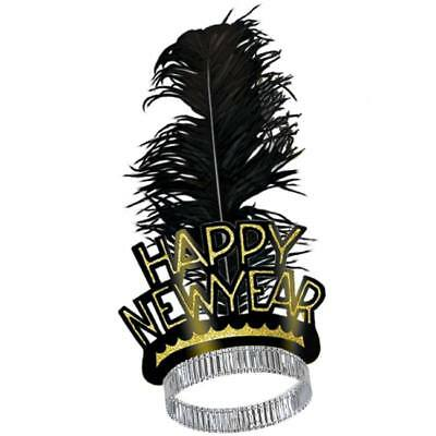 Happy New Year Swing Tiara Adult Feather Gold New Years Eve