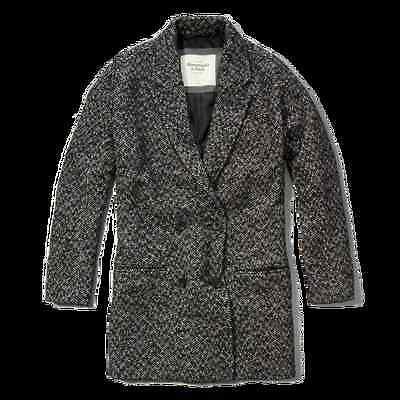 NWT Abercrombie Madeline HERRINGBONE COAT peacoat jacket size L