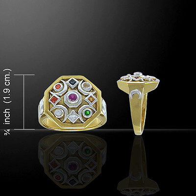 Chandra Edelsteine (Chandra Moon .925 Sterling Silver Mixed Gemstone Ring by Peter Stone)