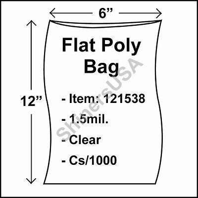 1000 1.5-Mil 6x12 Clear Poly Bag Open Top Lay Flat Packaging 121538
