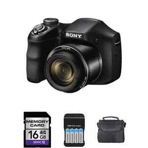 Sony-Cyber-shot-DSC-H200-20-1-MP-Digital-Camera-16GB-Batteries-Charger-More