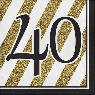 Black and Gold 40th Birthday Lunch Napkins 40th Birthday Party Decoration - Black And Gold Napkins