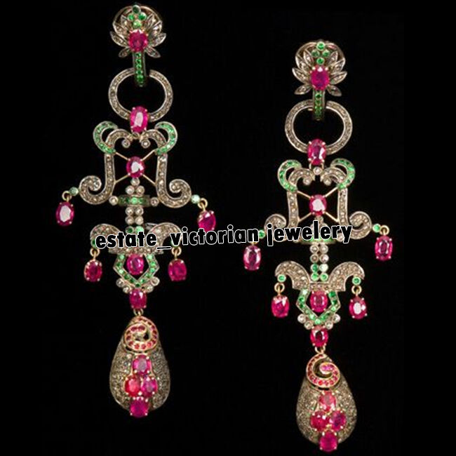 Victorian 6.40cts Rose Diamond Gemstone Studded Silver Danglers Earring Jewelry