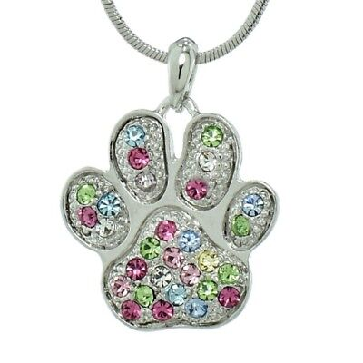 Paw Dog Cat Kitty Made With Swarovski Crystal Pawprint Multi-color Pendant Gift