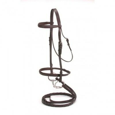 NEW Tough-1 Silver Fox Padded Snaffle Bridle - Brown - Cob