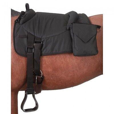 New Tough-1 Premium Horse Bareback Pad Bareback Saddle w/ Accessory Bag. Brown