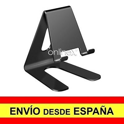Soporte Mesa Aluminio para Movil Tablet Atril Metal Base Universal NEGRO a2972