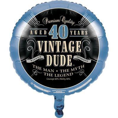 Vintage Dude 40th Birthday Foil Balloon The Man Myth Legend Party - Mens 40th Birthday Decorations