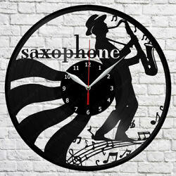 Saxophone Vinyl Record Wall Clock Art Decor Original Gift 12 30cm 1784