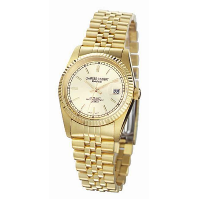 Charles-Hubert- Paris Mens Gold-Plated Stainless Steel Quartz Watch #3635-GY