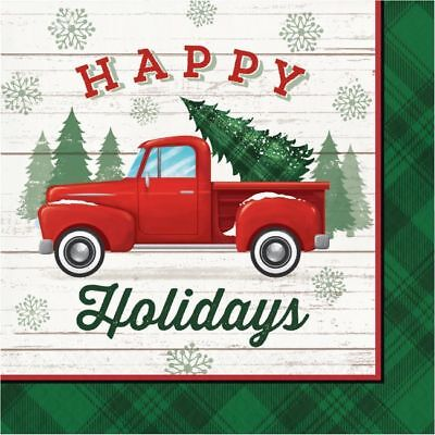 Christmas Classics Lunch Napkins 16 Pack Red Truck Winter Party Decoration