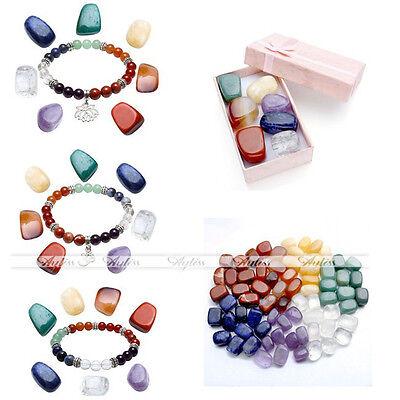 7 Chakra Colorful Irregular Stone Lotus OM Beads Stretch Bracelet With Box Set Beads Stretch Bracelet Box