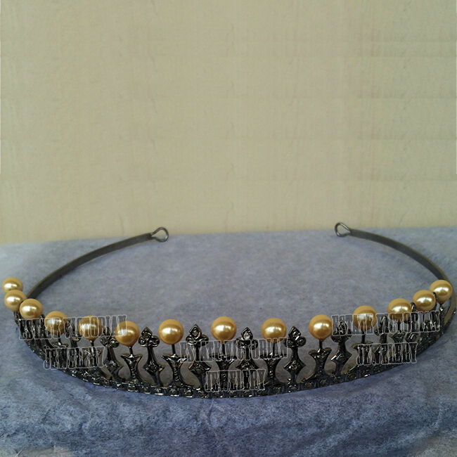 Antique 5.83cts Rose Cut Diamond Pearl Studded Silver Royal Crown Tiara Jewelry