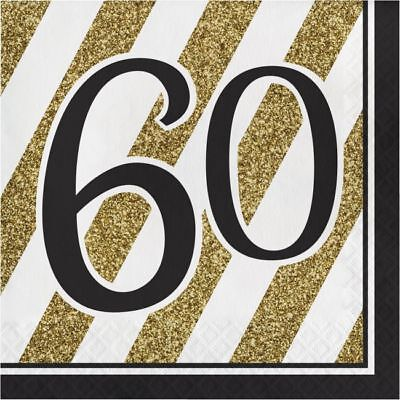 Black and Gold 60th Birthday Lunch Napkins 60 Birthday Party Decoration