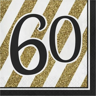 Black and Gold 60th Birthday Lunch Napkins 60 Birthday Party Decoration - Black And Gold Napkins