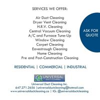 Air Duct Cleaning, Post-Construction Cleaning, Etc.
