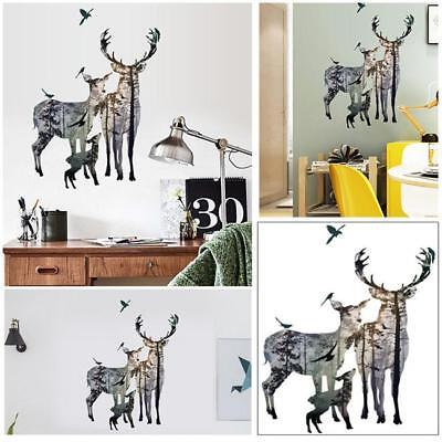 Wild Animals Deer View Wall Sticker Forest Scenery Decals for Home Room Decors (Wild Animals Wall)