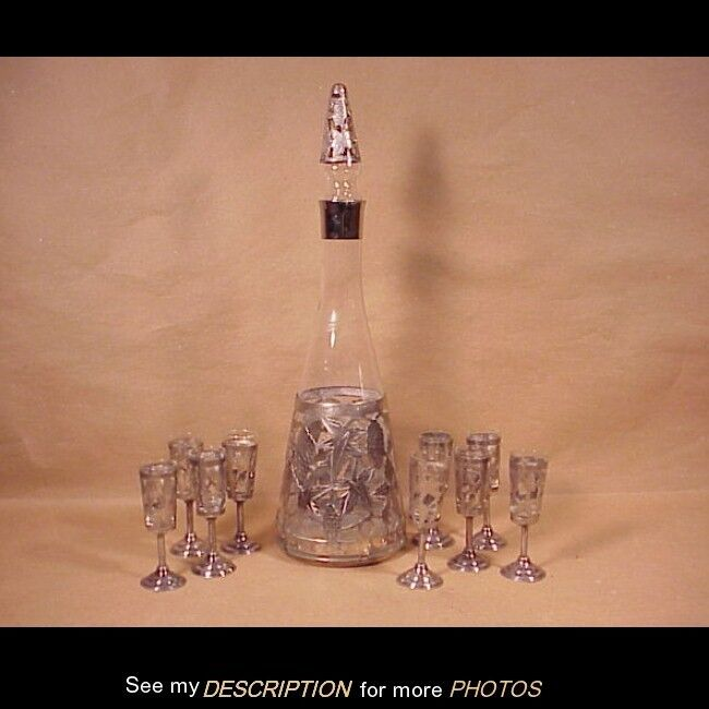 Antique Mexico Sterling Silver Grape Overlay 10pc Cordial Set ART
