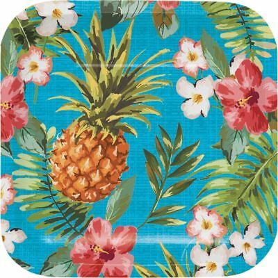 Hawaiian Luau Party Pineapple Aloha Deep Dish 7 Inch Square Paper Plates 8 Pack](Luau Paper Plates)