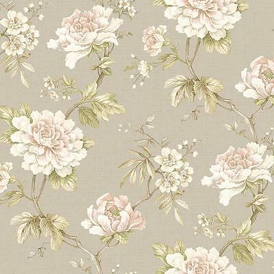- Wallpaper Large Cream White Pink Floral on Green Leaf Vine on Taupe Faux
