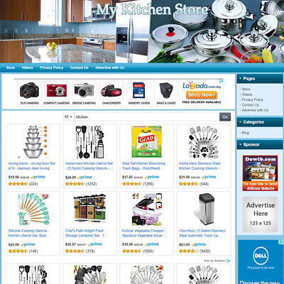 Kitchen Store - Turnkey Online Affiliate Business Website For Sale Free Domain
