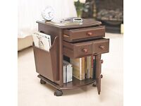 Companion Table Bedside Storage Magazine Rack Drawers