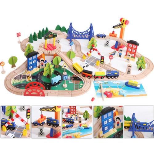 108pcs Kids Wooden Train Cars Track Toy Set Gift Bridge Rail