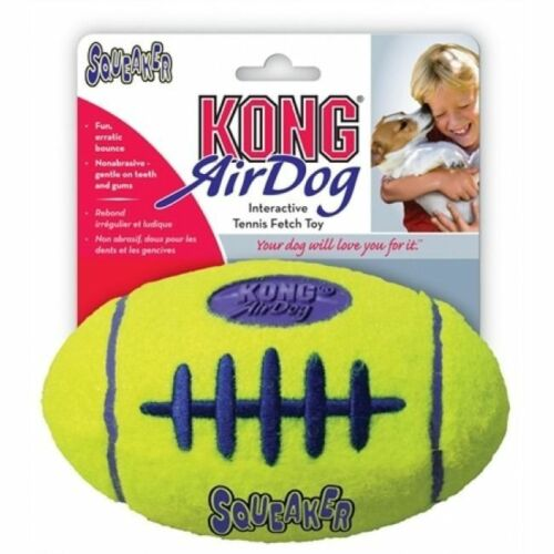 KONG Airdog Football Yellow Dog Squeaker Durable Pet Toy Med