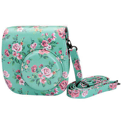 Instant Camera Case Holder PU Leather for Fujifilm Instax Mini8 Mini9 Floral Bag
