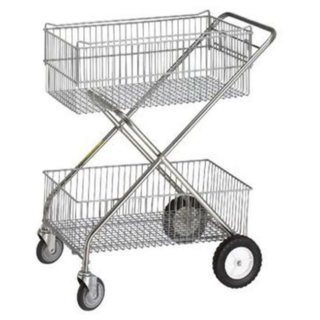 R & B Wire 500 Deluxe Tubular Steel Utility Cart - 2 Baskets Chrome