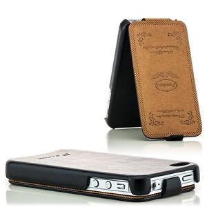 Für Apple iPhone 4S / 4 - Leder Tasche Handy Hülle Schale Case Bumper Cover Etui