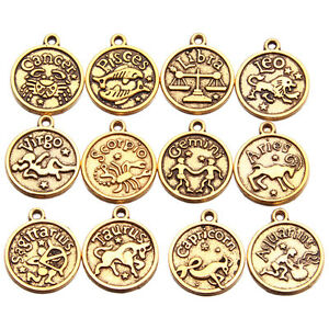 60x Vintage Gold Mixed Zodiac Signs Patterns Carved Round