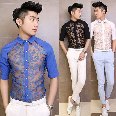 Stylish Men's Sexy See-through Lace 3 Quarter Sleeve Cool Casual Shirt Top Tees