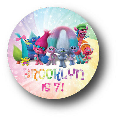 30 Trolls Movie Personalized Birthday Party Favors Treat Bag Stickers](Movie Party)