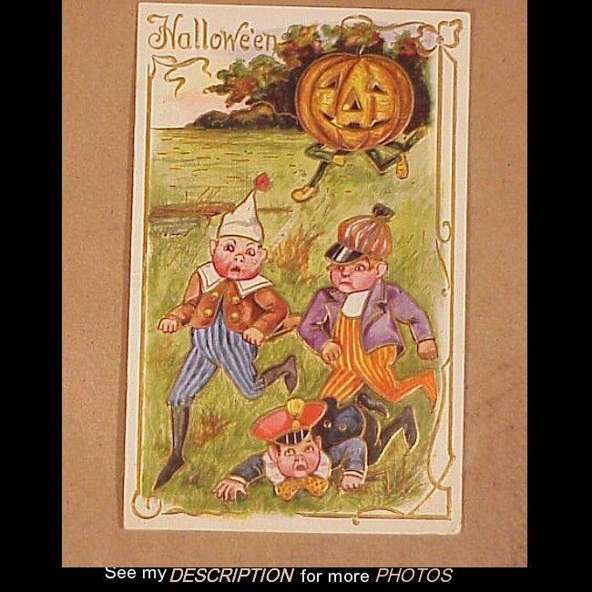 Antique 1910 Embossed Halloween Postcard JOL Chasing Boys